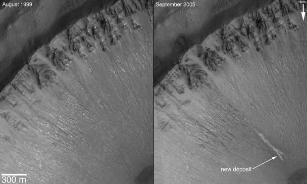 Plaatje 4: Soms stroomt er zelf nu nog wat water op Mars. Op de foto rechts is een afzetting te zien die door stromend water gemaakt is, en er een paar jaar eerder (links) nog niet was.